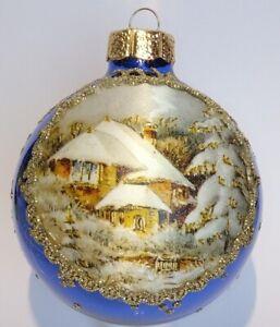 "EGGL"" Edle  SEIDENBILD Weihnachtskugel mit Bordüre-Waldhaus-in Royalblau Ø 8 cm"