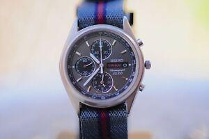 "Rare 2005 Seiko ""Speedmaster"" SQ100 Titanium Chronograph 7T62-0CW0 Men's Watch"