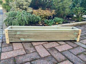 WOODEN DECKING GARDEN PLANTER TROUGH FLOWER PLANT POT - WINDOW BOX  90cm Long