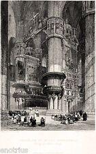 Milano: interno del Duomo. Lombardia. Acciaio. Stampa Antica + Passepartout.1836