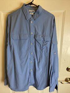 REI Men's Size L Vented Fishing Hiking Shirt LS Blue 100% Nylon Button Front