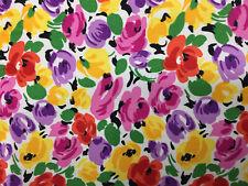 "Cream & Multicolour ""Deco"" Flowers Floral Printed 100% Cotton Poplin Fabric."