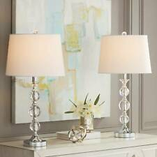 Modern Table Lamps Set of 2 Stacked Crystal Ball Silver...