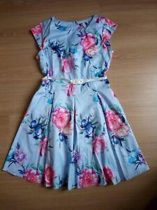 Petticoat Kleid Rockabilly hellblau mit Blüten 46 neu