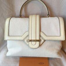 "TOD'S White Calfskin Leather ""Passante Patta Media"" Flap Shoulder Bag~Italy~NWOT"