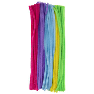 Spring Multi-Color Chenille Stems Blue, Green, Pink, Purple, & Yellow 100 count