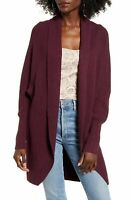 Leith Women's Sweater Purple Size XS Cardigan Ribbed Knit Open-Front $69 #183