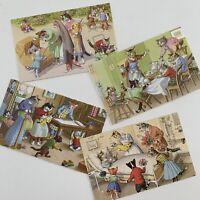 Vintage 60s Anthropomorphic Cat Postcard Lot (4) Alfred Mainzer New Baby Park