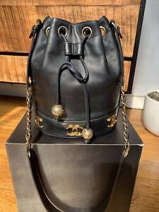 CHANEL Vintage Triple CC Black Lamb Leather Bucket Crossbody Bag 24k gold plate