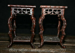 """8.4"""" Antique China Huanghuali Wood Dynasty Bamboo flower shelf Stand stool Pair"""