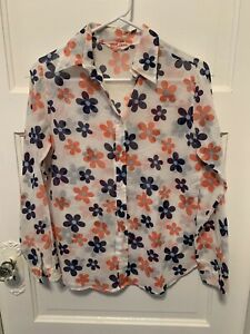 A Women/'s,Vintage 60/'s Uber GROOVY Long Sleeve FLORAL See-Thru CREPE Hipster Blouse.L
