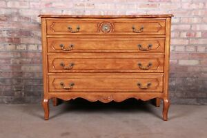 French Provincial Louis XV Carved Fruitwood Four-Drawer Dresser Chest
