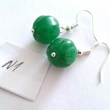 Lovely Pair of 925 Silver Natural Green Emerald Earrings, (AA1)