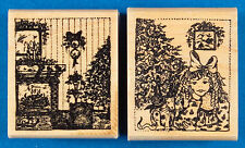 Christmas Tree & Fireplace Rubber Stamp Set - Stampa Barbara - Girl with Bow
