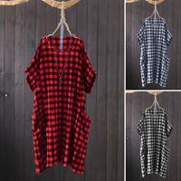 ZANZEA Women Summer Mini Dress Check Plaid O-Neck Short Sleeve Dress Plus Size