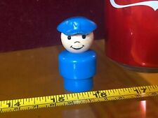 Fisher Price Figure Blue Police Man Happy Smiley Vintage Mini Fig Very Old Toy