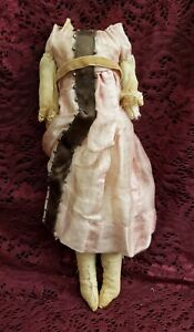 Antique Cloth Doll Body For Any Shoulder Head Doll W/ Old Outfit