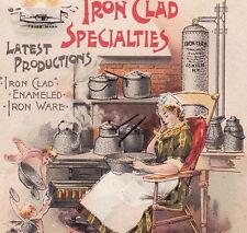 Iron Clad Enameled Kitchen Ware Nelly Bly NY Fairy Stove Advertising Trade Card