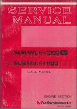 1970-1971 Subaru 1100 1300G USA Engine Shop Manual Supplement Repair Service
