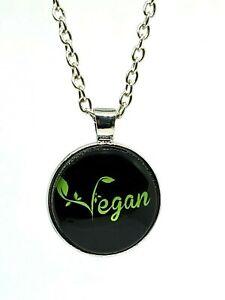 """Vegan Glass Cabochon Pendant 20"""" Necklace Vegan Proud Statement Pendant Necklace"""