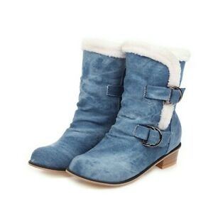 2020 Womens Fashion Round Toes Chunky Heels Denim Warm Casual Ankle Boots
