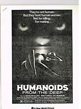 HUMANOIDS FROM THE DEEP 1980 ORIGINAL MOVIE PRESSBOOK INFO NO PHOTOS NM V MORROW