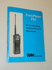 mode d'emploi OPERATING INSTRUCTIONS team RADIO team porty phone FM scanner