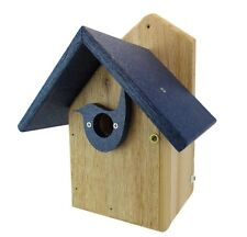 Post Mount Cedar Wren House w/ Blue Poly Roof & Birdhouse Predator Guard Portal