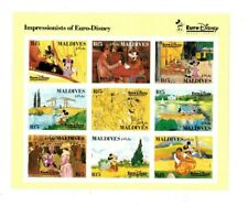 Maldives 1992 - Impressionists of Euro Disney Imperf Stamps - Sheet of 9 - Mnh