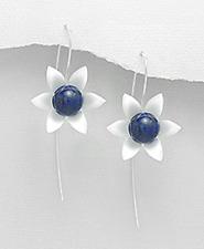 925 Sterling Silver Flower Hook Earrings Lapis Lazuli Stone Dangle Stem w/ box
