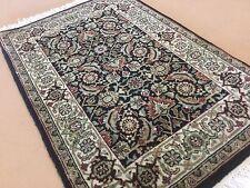 "2'.0"" X 3'.0"" Black Beige Geometric Persian Oriental Area Rug Hand Knotted Wool"