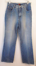NY Jeans Embellished Straight Leg Jeans Faded Blue Cotton Women's Size 10