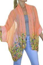 Hip Length Chiffon Floral Coats & Jackets for Women