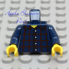 NEW Lego Dark BLUE MINIFIG TORSO Boy Girl Red Brown Plaid Button Shirt Top Upper
