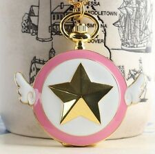 Cute Cardcaptor Sakura Pocket Watch Anime Pink Star Wing Necklace Watch Cosplay