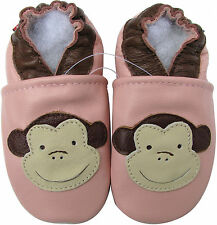 carozoo monkey pink 3-4y new soft sole leather baby shoes