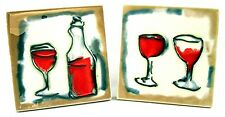 Coasters Trivets Wall Accent Wine Spirits Glasses Bottle Set of 2 Art Tile 4x4