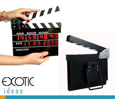 Movie Slate Clapper Board LED Digital Desk Clock with Calendar Alarm AC power