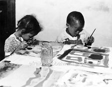 Photo. ca 1934. Lynchburg, Virginia. Young African American Children - Art Class