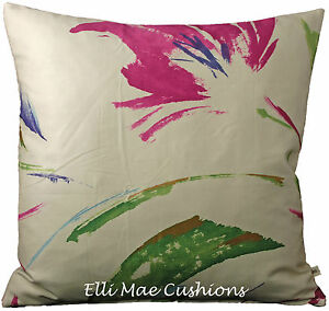 Crowsons Floresta Designer Fabric Pink Green Contemporary Cushion Pillow Cover