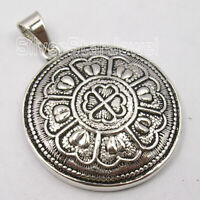 Solid Sterling Silver Oxidized Pendant 4 cm 3.9 Grams Gemstone Art Jewelery