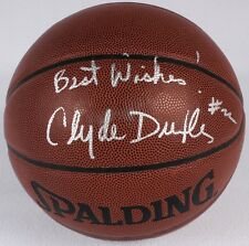 Clyde Drexler Signed Full Size NBA Basketball Best Wishes Inscript JSA Blazers