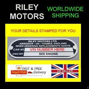 STAMPED RILEY MOTORS BL CARS ALL-BLANK-VIN-CHASSIS-PLATES ELF KESTREL FARINA