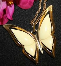 LARGE  2 1/2 INCH CROWN TRIFARI SIGNED LUCITE BUTTERFLY NECKLACE SOLD AS IS