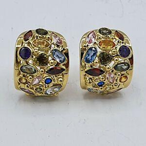A172# Paar schöne bunte Edelstein Ohrringe G Gold 750 punziert