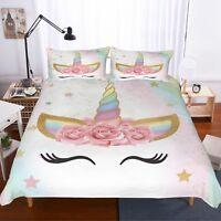 3D Unicorn Bedding Set Duvet Cover Comforter Cover Pillow Case New