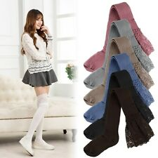 Women Lace Knitting Cotton  Knee Thigh Stockings High Socks Pantyhose Tights lor