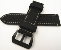Gents Handmade Tanned Leather Top High Quality Watch Strap -26 MM   BLACK