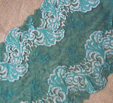 "9""  Wide Stretch Green Lace with Beiges Pattern y0345"