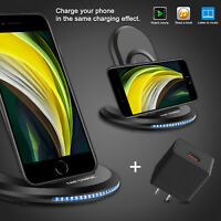 For iPhone X/Xs/ 11 Pro Max /SE Qi Wireless Fast Charging Charger Stand Dock Pad